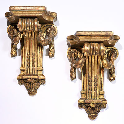 GILT WOOD WALL BRACKETS