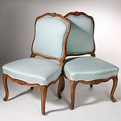 FRENCH WALNUT LOUIS XV SIDE CHAIRS