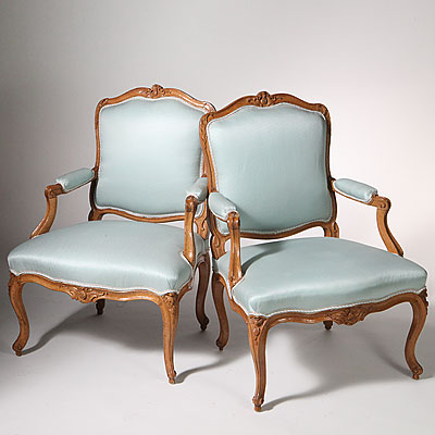 FRENCH WALNUT LOUIS XV ARM CHAIRS