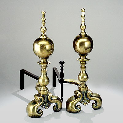 FRENCH BRASS ANDIRONS