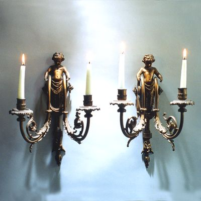 GILT BRONZE SCONCES