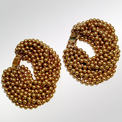 PAIR OF GOLD BEAD BRACELETS
