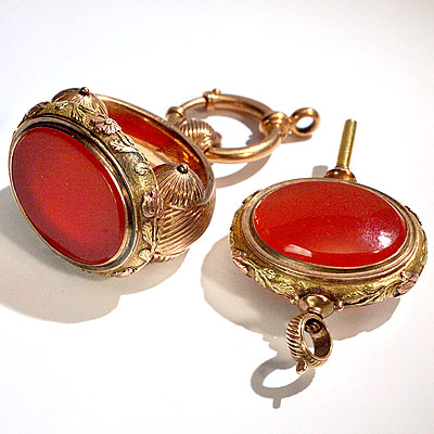 CARNELIAN WATCH FOB SET