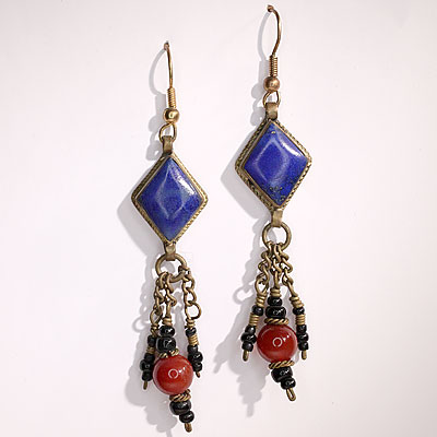 LAPIS & BEAD EARRINGS