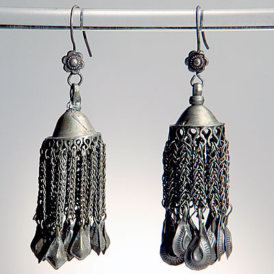 ETHNIC SILVER TASSEL EARRINGS