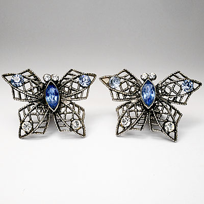 BLUE CRYSTAL BUTTERFLY EARRINGS