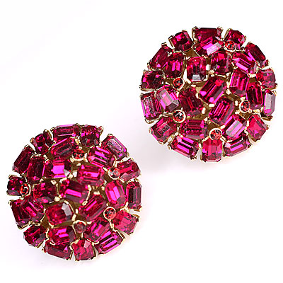 FUSCHIA CRYSTAL TRIFARI EARRINGS