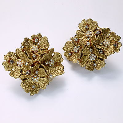 GOLD, PEARL & CRYSTAL MONTERO EARRINGS