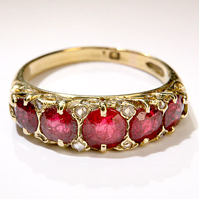 VICTORIAN 5-STONE RUBY RING