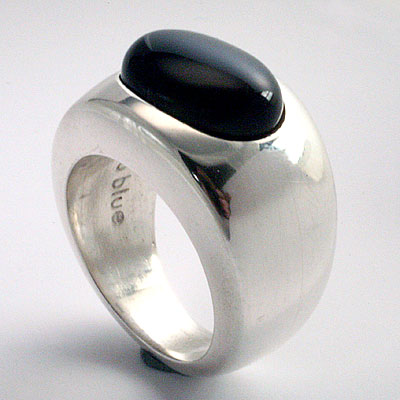 SILVER & ONYX BAND RING