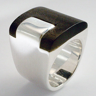 SILVER & EBONY BAND RING
