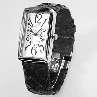 WOVEN LEATHER & SILVER WATCH