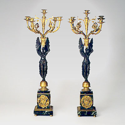 PAIR OF BRONZE CANDELABRA
