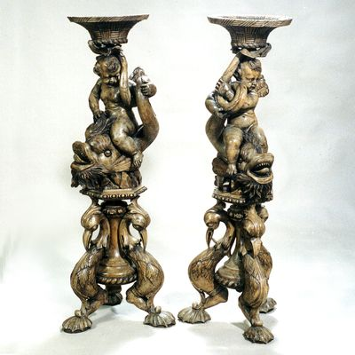 CARVED WOOD STANDS