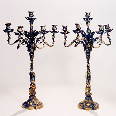 PAIR FRENCH GILT CANDELABRAS
