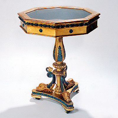 GILTWOOD VITRINE TABLE