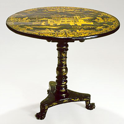 JAPANNED TILT TOP TABLE
