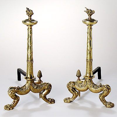 LARGE BRASS ANDIRONS