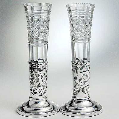 PAIR OF CRYSTAL & SILVER VASES