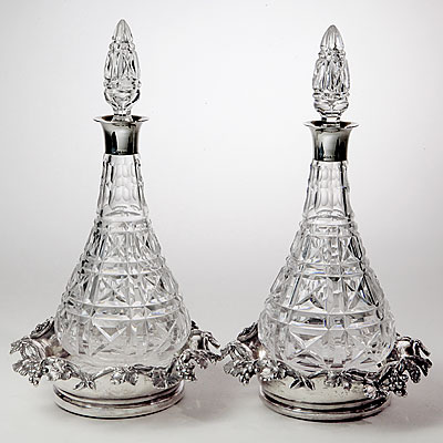 EDWARDIAN CRYSTAL WINE DECANTERS