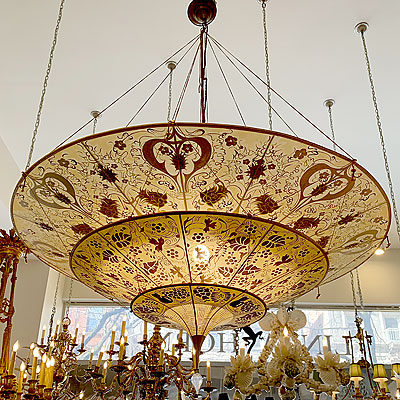 FORTUNY SILK THREE TIER HANGING CHANDELIER