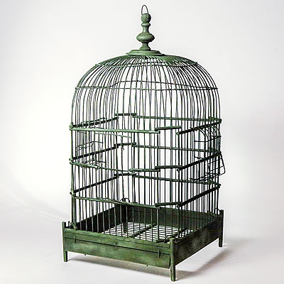 PAINTED GREEN BIRDCAGE