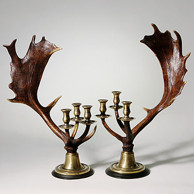 PAIR OF ANTLER CANDLESTICKS