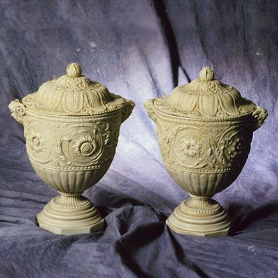 PAIR OF FAUX MARBLE VASES