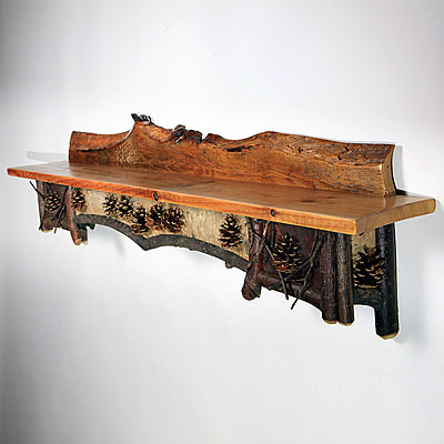 ADIRONDACK PINE CONE WALL SHELF
