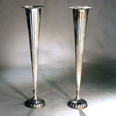 PAIR OF TALL ART DECO SILVER VASES