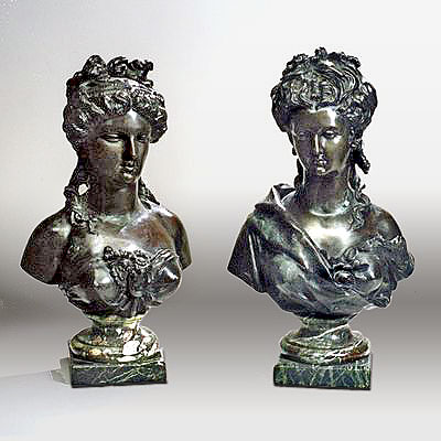 PAIR OF BRONZE FEMALE BUSTS