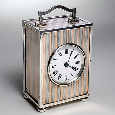 SILVER AND GOLD CARRIAGE CLOCK