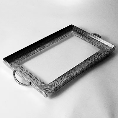 RECTANGULAR PEWTER CROC TRAY