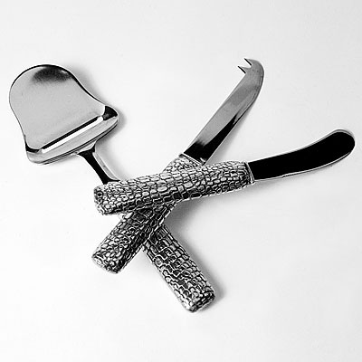 SET OF 3 PEWTER CROC CHEESE KNIVES