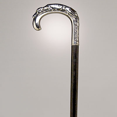 SILVER DOG HANDLE CANE