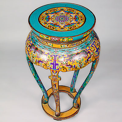 CLOISONNE PEDESTAL TABLE