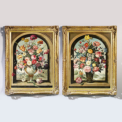 PAIR FLORAL PAINTINGS