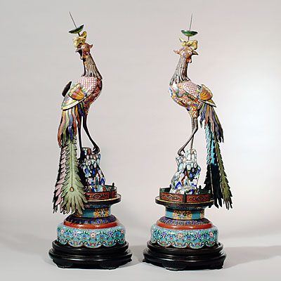 CLOISONNE PEACOCKS