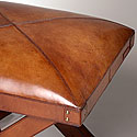 COGNAC CROSS-LEG LEATHER STOOL