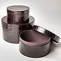SET OF THREE FAUX CROC HAT BOXES