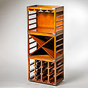 THREE PIECE WINE AND GLASS RACK