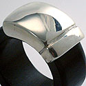 EBONY & SILVER BAND RING