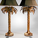 A PAIR TOLE PALM TREE LAMPS